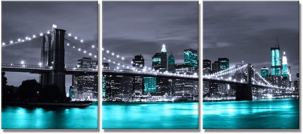 Visual Art Decor Black White and Teal Blue New York Brooklyn Bridge Cityscape Night Building Skyline Picture Canvas Prints Wall Art for Modern Home Office Bedroom Decoration