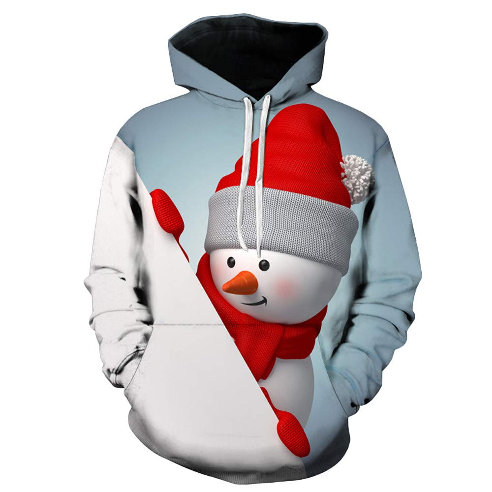 Sagton Mens Winter Christmas Snowman Print Long Sleeve Hooded Sweatershirt Top Blouse Sagton®