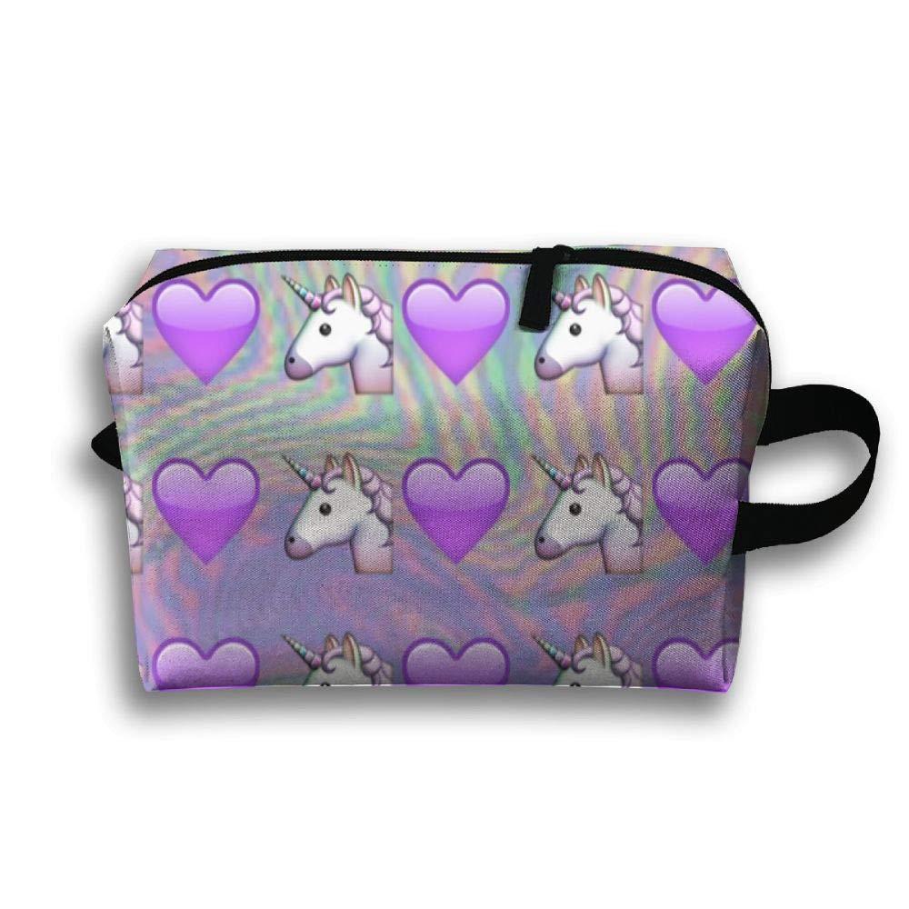 Unicorn And Love Pattern Cosmetic Bags Makeup Organizer Bag Pouch Zipper Purse Handbag Clutch Bag