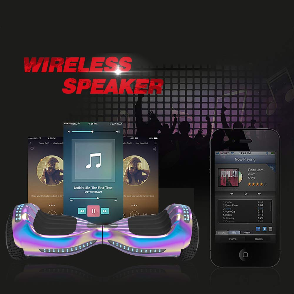 Hoverboard UL 2272 Listed Flash Wheel 6 Bluetooth Speaker with LED Light Self Balancing Wheel Electric Scooter