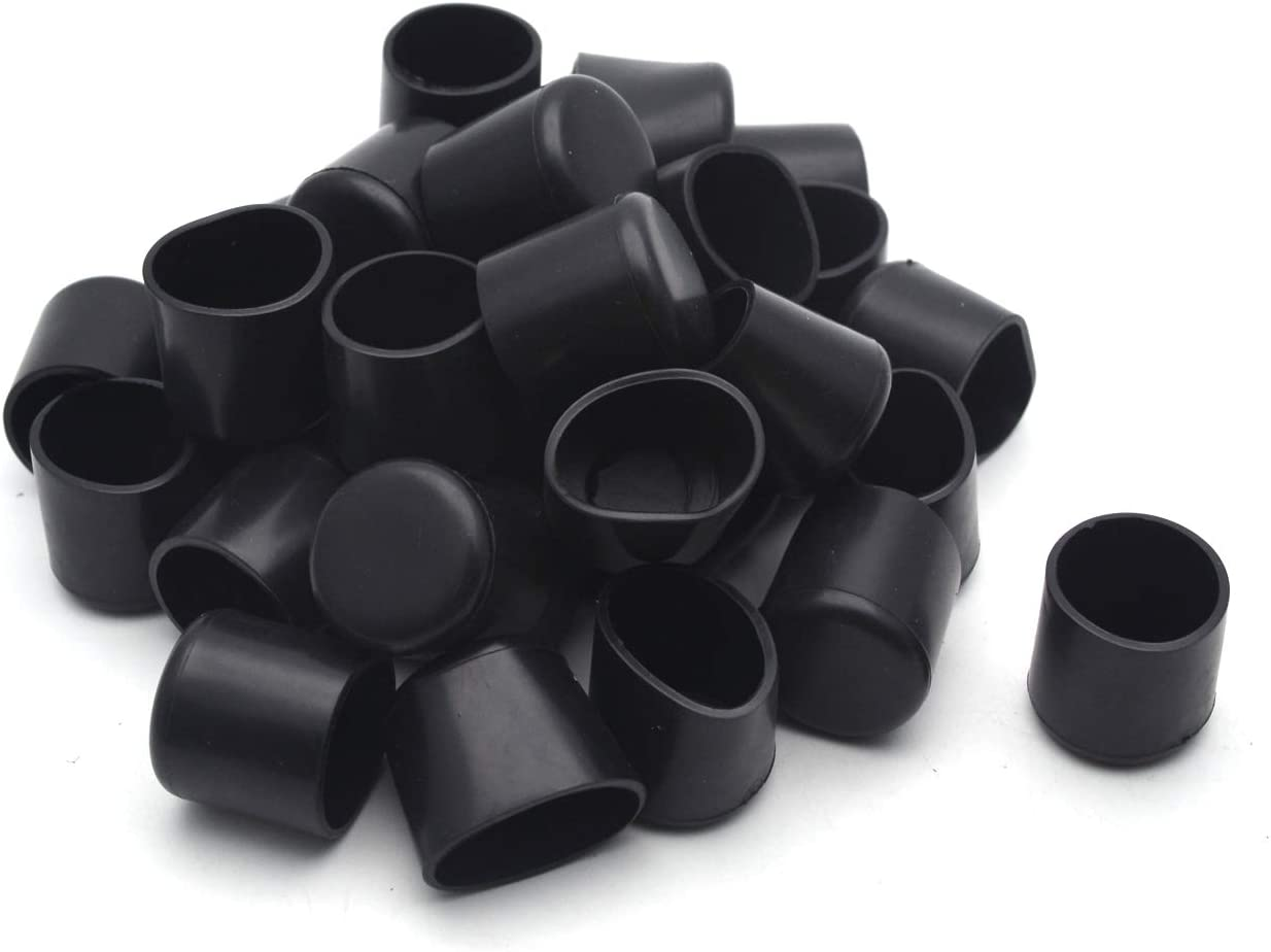 Antrader 32 Pcs Black Plastic Furniture Chair Leg Caps PVC Plastic Feet Protector Pads Furniture Table Covers Round Bottom 3/4 Inches