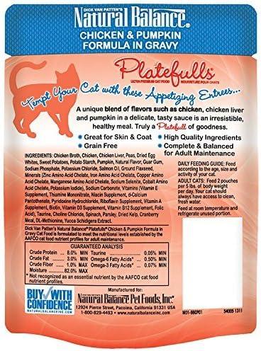 Natural Balance Platefulls Chicken Pumpkin Formula in Gravy Grain-Free Cat Food Pouches, 3-oz pouch, case of 24