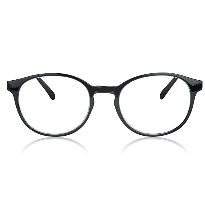 In Style Eyes Opulent Oval Clear Frame Reading Glasses Set with Case Black  +1.00 c792dbdb5c