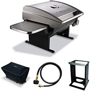 Cuisinart CGG-200 All-Foods 12,000-BTU Tabletop Gas Grill + Cover + Adaptor Hose + Grill Stand