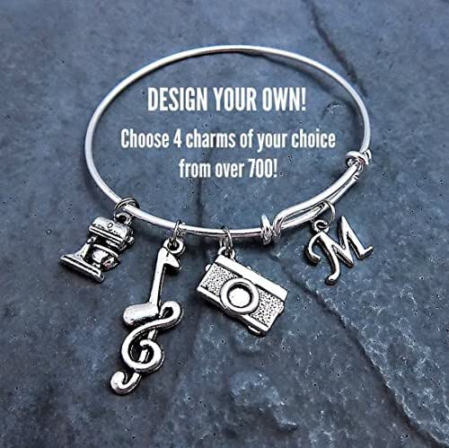 Design Your Own Custom Bangle Charm Bracelet Pick Your Charms
