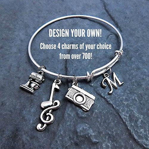 [Custom Design Your Own Charm Bracelet - Expandable Bangle - Personalized Jewelry - Pick Your Charms - Choose] (Customs For Halloween Ideas)