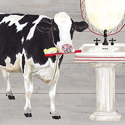 Bath time for Cows Sink by Tara Reed Art Print, 12 x 12 inches (Animal Bathroom Ideas Decorating Print)
