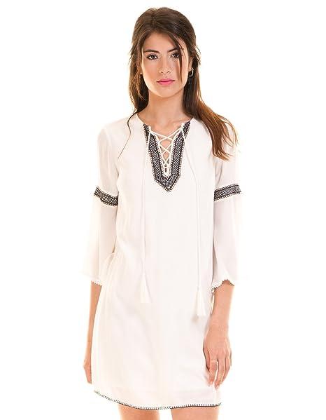 Vila Vestido Blanco ibicenco túnica Clothes (XS - Blanco)