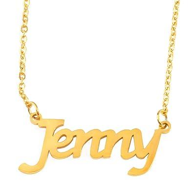 0daf5c4c54eb7 Amazon.com: Zacria Jenny Name Necklace - 18ct Gold Plated: Jewelry