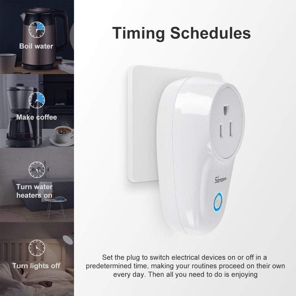 sans fil et contr/ôle /à distance fonctionne avec Alexa Smart contr/ôlez vos appareils depuis n/'importe quel endroit gr/âce /à lapplication. SONOFFS20//S26//S55 Prise /électrique intelligente