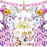 Unicorn Party Supplies Set Decorations Birthday Gifts for Girls Kids Birthday Banner Pink Decor Purple Party Balloons Bulk, Balloon String Included