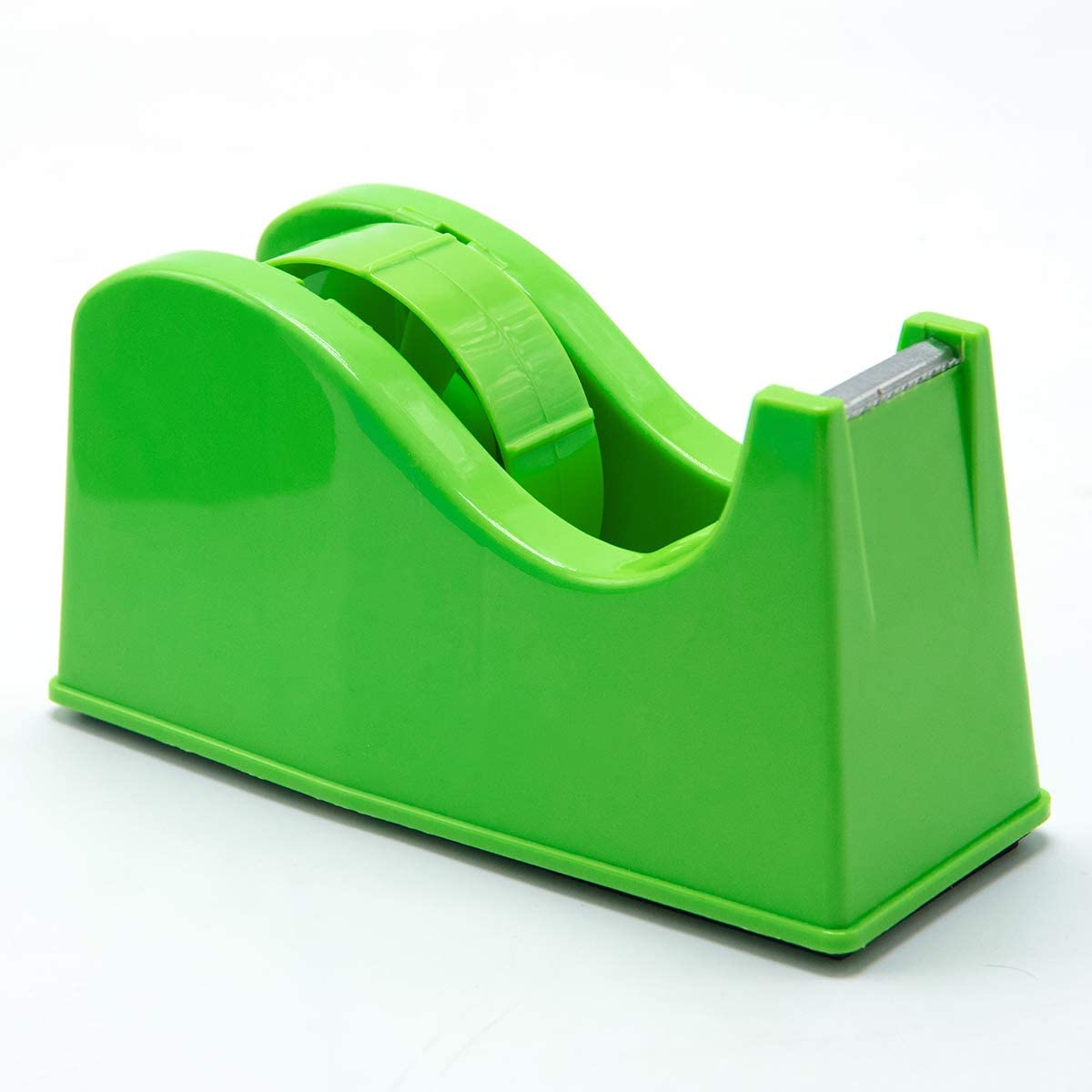 "Desktop Tape Dispenser Adhesive Roll Holder (Fits 1"" & 3"" Core) with Weighted Nonskid Base Green"