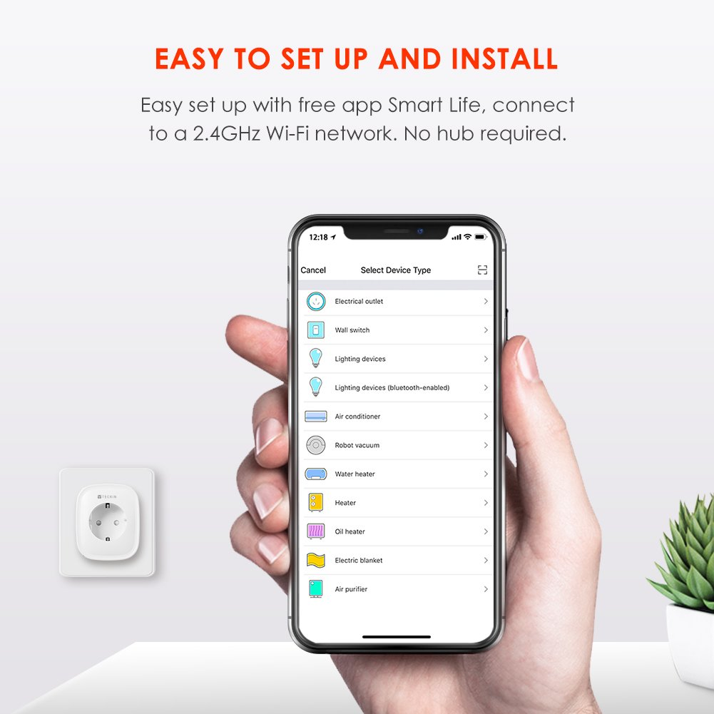 - 4 Packs TECKIN WLAN Smart Steckdose Intelligente Plug Wifi Stecker fernbedienbar Echo, Echo Dot funktioniert mit  Alexa Stromverbrauch messen
