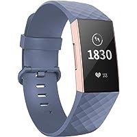 Adepoy poor Fitbit Charge 3 Bandje, Verstelbare Siliconen Klassieke Vervangende Armband met Aluminium Gesp