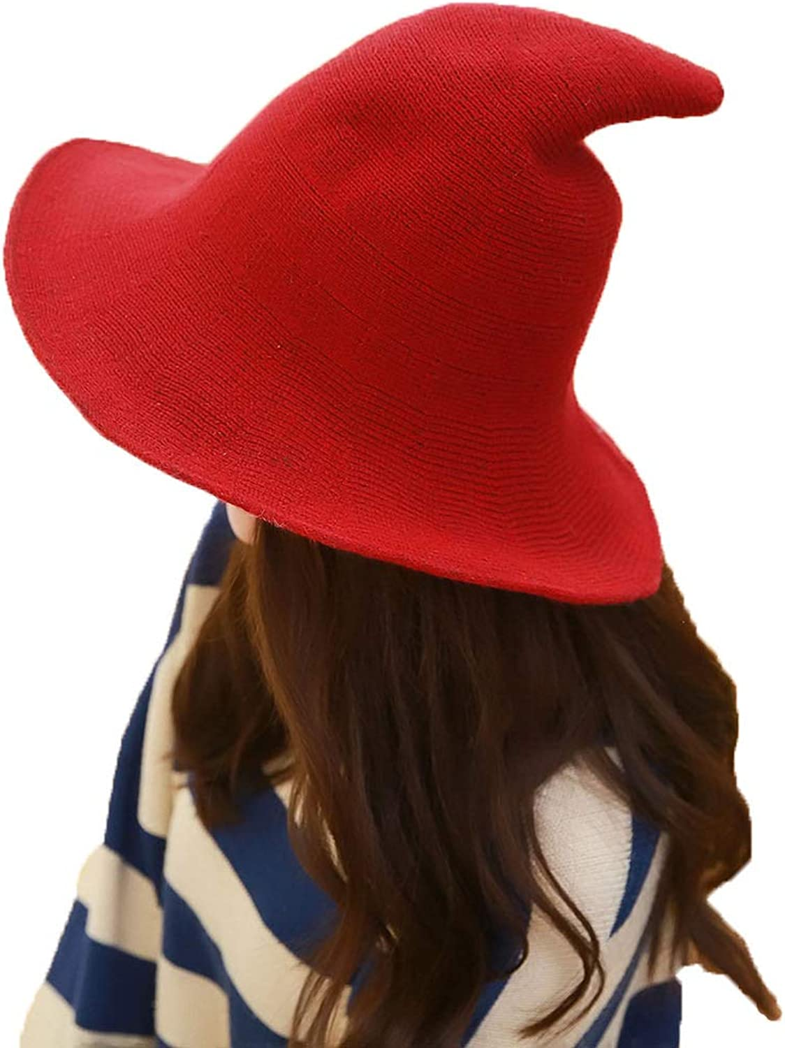 mettime US Womens Fashions Cute Wool Big Brimmed Witch Pointed Hats Knitted Wizards Solid Color Bucket Cap