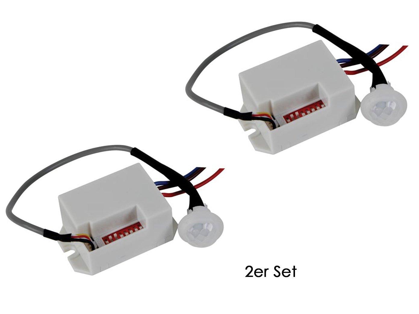 Juego de 2 mini Detector de movimiento PIR, para completar), 100 °/8 M, intervalo de tiempo elegir - 12 VDC: Amazon.es: Bricolaje y herramientas