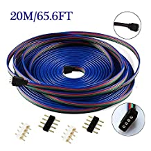 Crazy-Elelc 4Pin Plug in 20m/65.6FT RGB LED Strip Light Extension Ribbon Cable Wire Connector Cable Ribbon Extention Cord with 4x Male Plugs for DIY LED Decoration(Solderless Quick Connector)