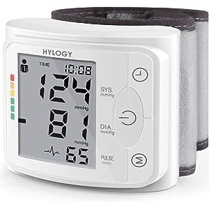 HYLOGY Tensiómetro de Muñeca, Totalmente Automático Presión Arterial y Detección de Pulso Arrítmico, Memoria