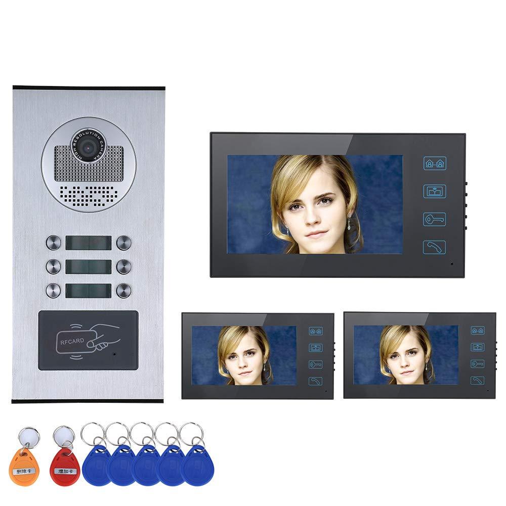 MCJL 7  TV doorbell 3 apartment home video door phone intercom system touch button HD 1000TVL camera doorbell camera waterproof belt 6 button 3 display