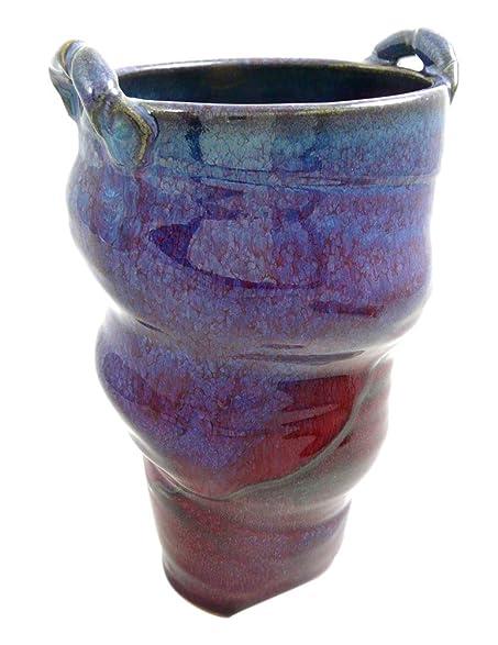 Amazon Plum Perfect Oval Spiral Vase Stoneware Pottery 9x6