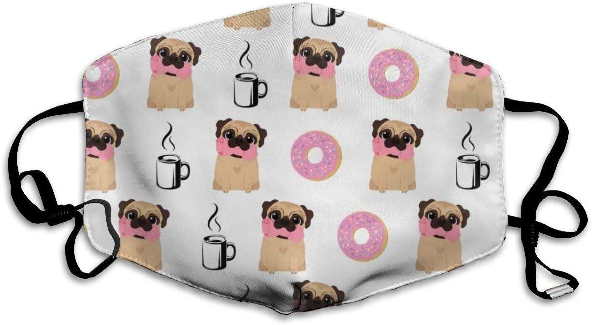 Windproof Cover,Vector Perros Pug Donut Café Protección Facial, Decoración Facial Lavable para Caminar Senderismo Trotar,18x11cm