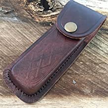 """5"""" Real Leather Sheath Pocket / Folding Eco'Gift Knife With Sharp Blade Multi Tool Case Pouch Holster new"""