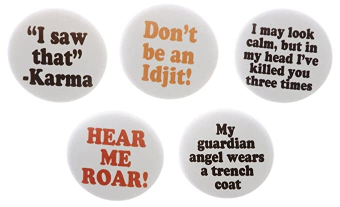 Amazon Com Set 5 Life Quotes Funny Humor 1 25 Pinback Buttons Pins