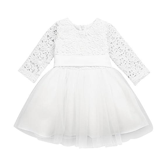 YiZYiF Baby Mädchen Kleid Langarm Blumenmädchenkleid Taufkleid Festlich Kleid Hochzeit Partykleid Festzug Gr. 62 68 74 80 86