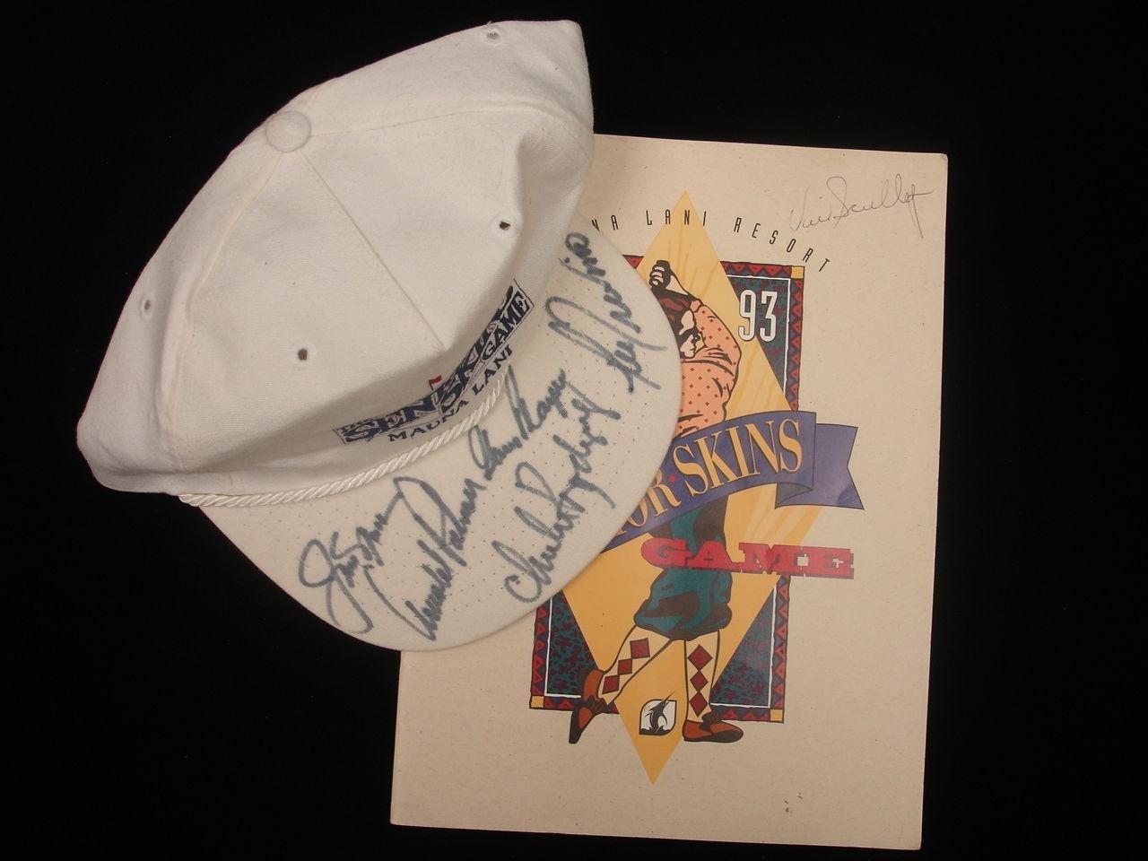 1993 Senior Skins Game Golf Autographed Program & Hat Palmer, Nicklaus + 4 Autographed Golf Hats and Visors