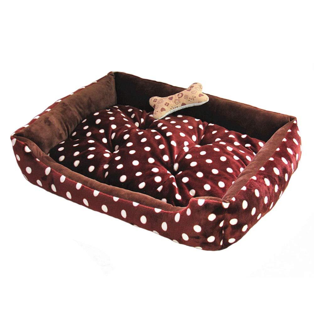 Brown Large Brown Large Pet nest short velvet PP cotton mattress suitable for dogs cat small animals pet nest (color   BROWN, Size   L)