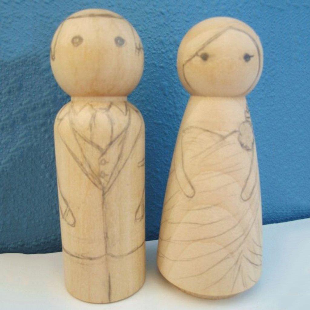 Amazon.com: Dovewill DIY Unpainted Craft Blank Wooden Peg Dolls ...