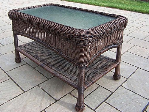 (Coffee Table for Living Room and Outdoor Patio with Glass Top in Premium Contemporary Wicker Rustic Design)