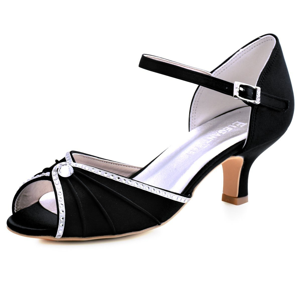 ElegantPark HP1623 Women's Sandals Peep Toe Mid Heel Pumps Pleated Rhinestones Satin Evening Wedding Party Shoes B076PTJQPS 6 B(M) US|Black