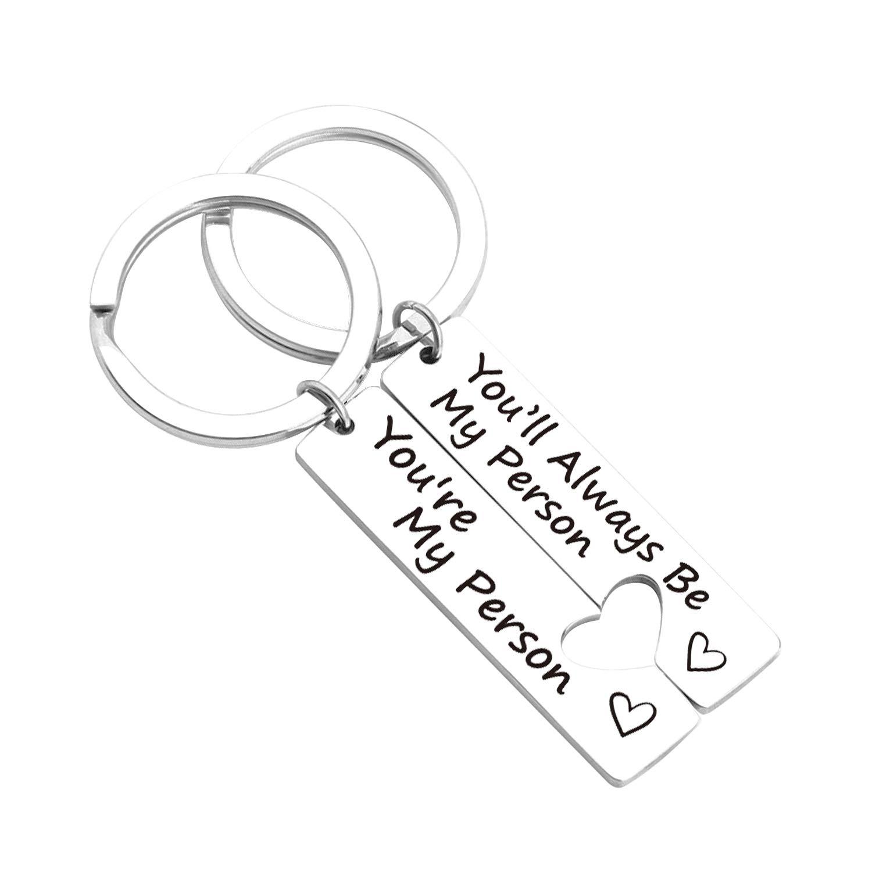 ZNTINA Couple Keychain You're My Person You'll Always Be My Person Lover Couples Gift Keychain Set of 2 Best Friend Boyfriend Girlfriend (My Person Set KR)