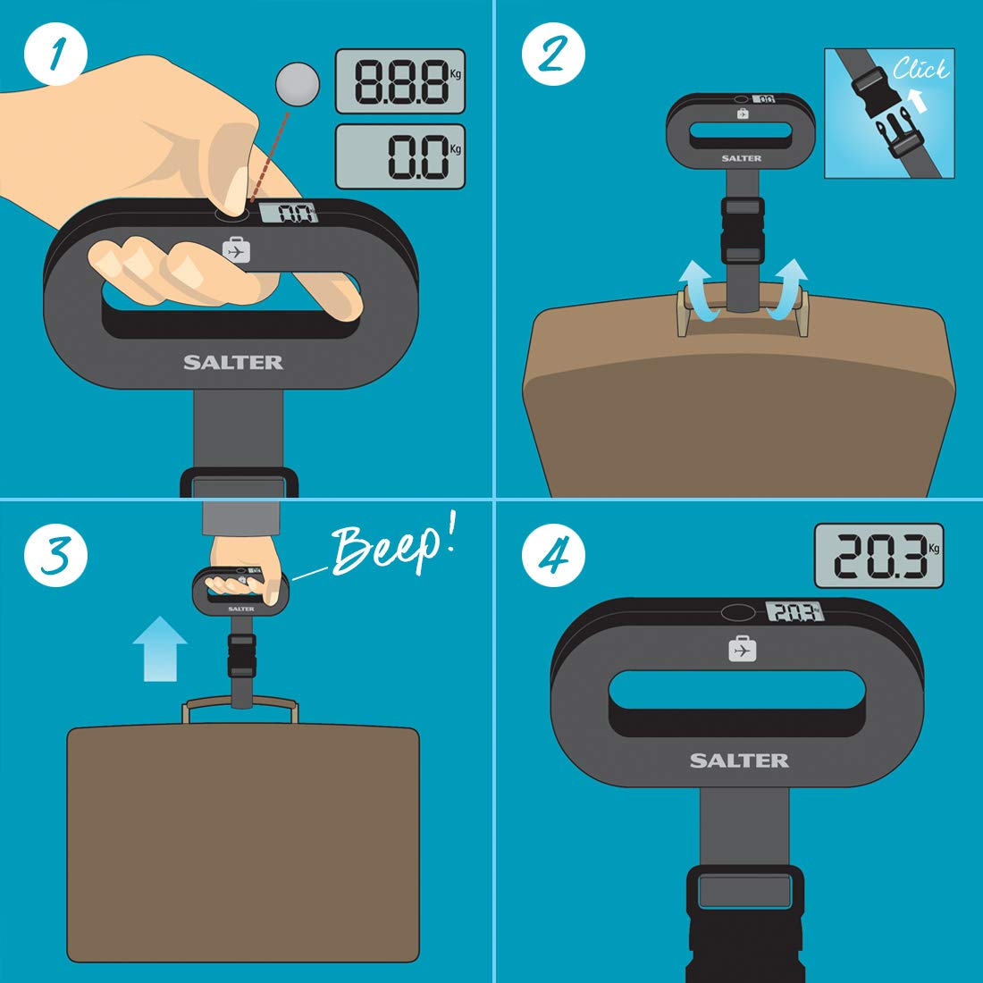 Salter Soft Touch Luggage Scale, Black by Salter (Image #4)