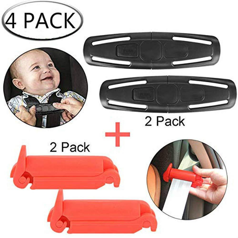 Dcola Universal Baby Clip pince pour harnais de poitrine et réglage de la ceinture de sécurité, clip de maintien de la poitrine pour clip de réglage du siège auto et de la ceinture de sécurité - Noir et roug