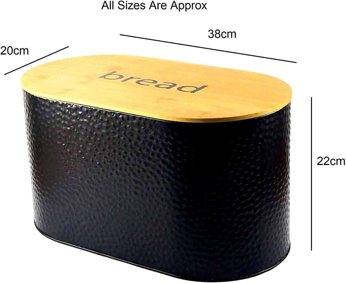 Gr8 Home M/étal Noir /à Pois Spots Textur/é en Relief Pain Poubelle Nourriture Pain Rangement Boite Cuisine Bamboo Board Couvercle