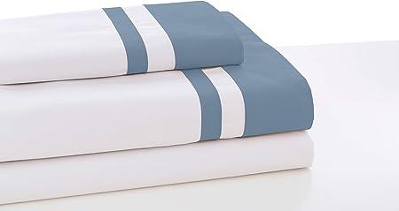ESTELIA - Juego de sábanas Marbella Color Blanco-Azul - Cama de 135/140 (3 Piezas) -100% algodón - 300 Hilos: Amazon.es: Hogar