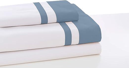 ESTELIA - Juego de sábanas Marbella Color Blanco-Azul - Cama de ...