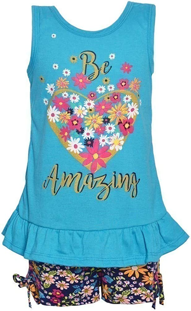 Real Love Little Girls Blue Heart Floral Ruffle Hem 2 Pc Shorts Outfit 2T-6X