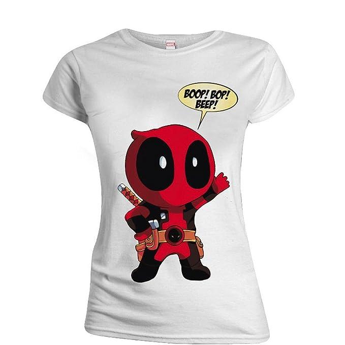 Deadpool Ladies T-Shirt Boop Bop Beep Size L CODI shirts