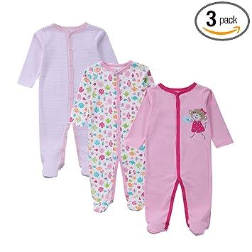 e37e0f3925dc2 エルフ ベビー(Fairy Baby)新生児服 足つきカバーオールロンパース 長袖 3枚セット 出産