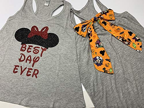 Handmade Disney Halloween Shirt with Orange Halloween Bow on back Best Day Ever Minnie Mouse -