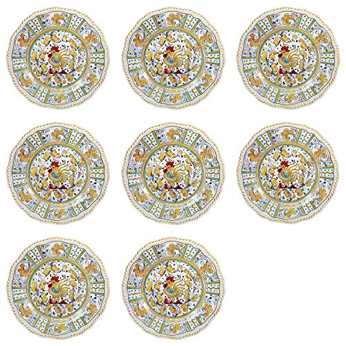 Plate Blue Salad Country (Le Cadeaux Rooster Yellow - Melamine Salad Plates - Set of 8 by Le Cadeaux)