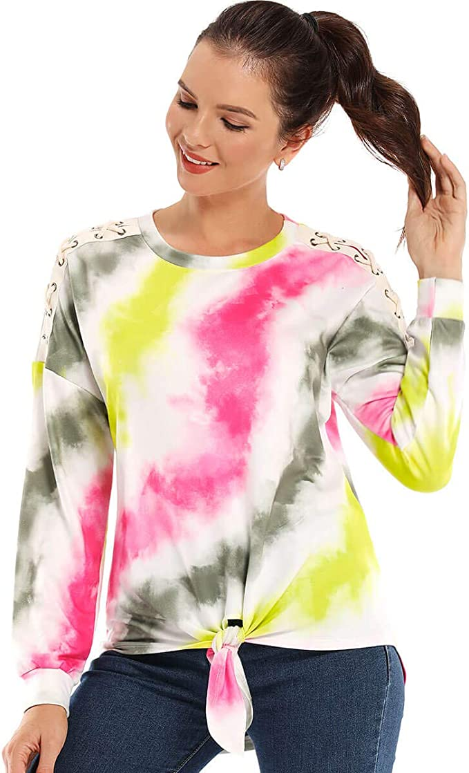 AS ROSE RICH Women's Colorblock Sweatshirt Tie Dye Print Tie Front Pullover T-Shirts Long Sleeve Tunic Tops for Canada Market