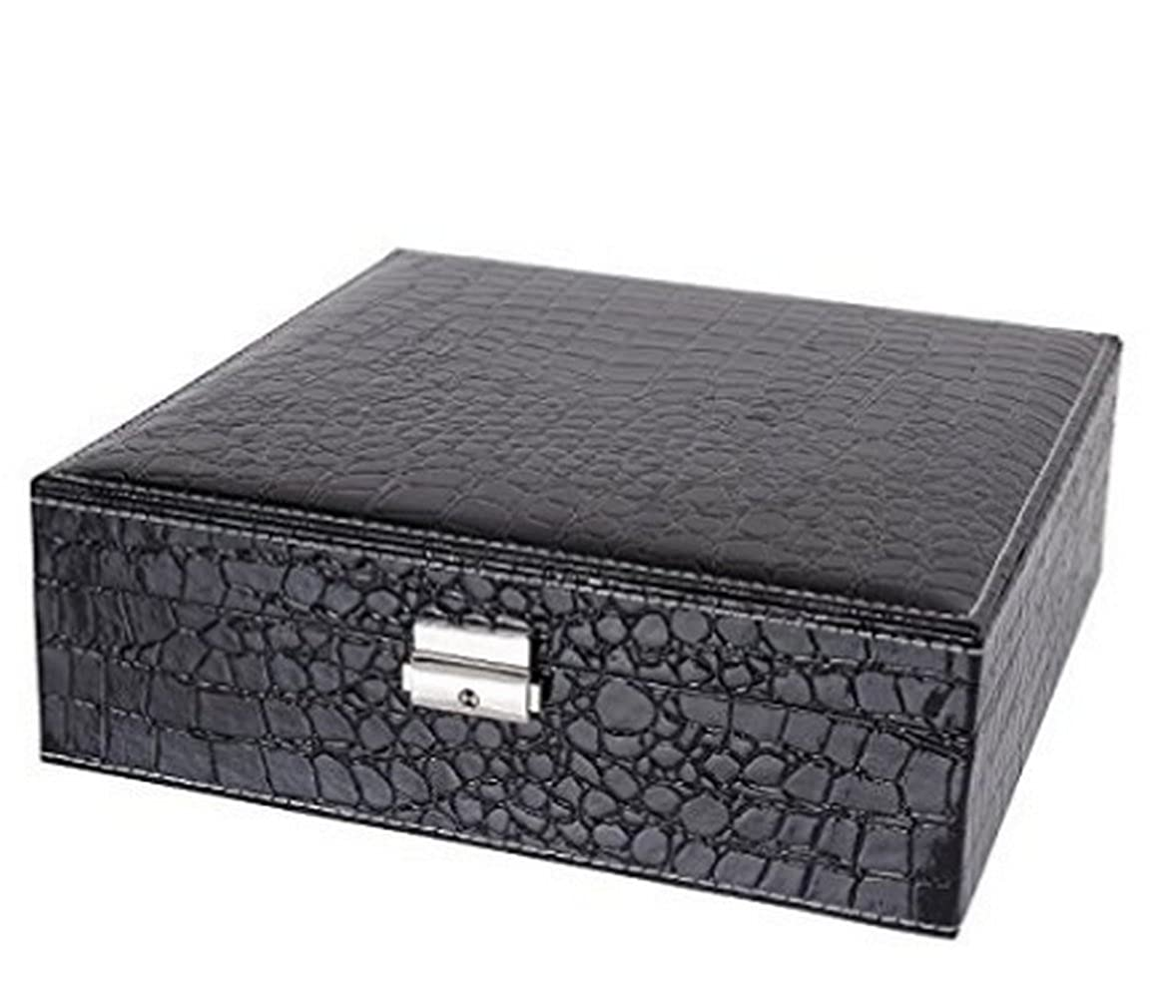 Leather Jewelry Box Makeup Case Large Capacity Cosmetic Lockable Storage Organizer Display with Mirror Rose (Black)