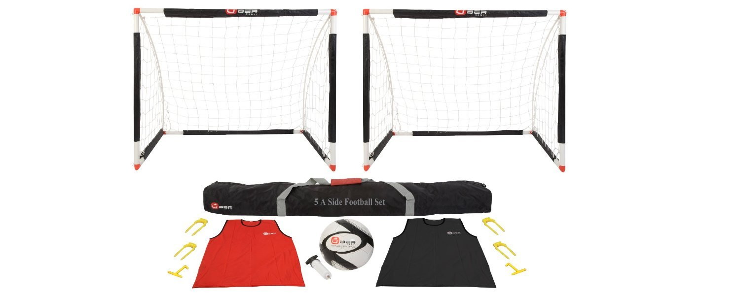 Uber Soccer-Soccer Goal Bundle with Two 8x4' Goals, Training Bibs, Soccer Ball and Ball Pump
