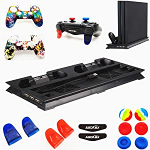 Cooling Fan Vertical Stand for Ps4 Pro(1pc Cool Fan,2pcs Silicone Cover,4pcs L2R2 Trigger Extender,6pcs Thumb Grips,4pcs LED Light Bar Decal) Accessories Kit (Black)
