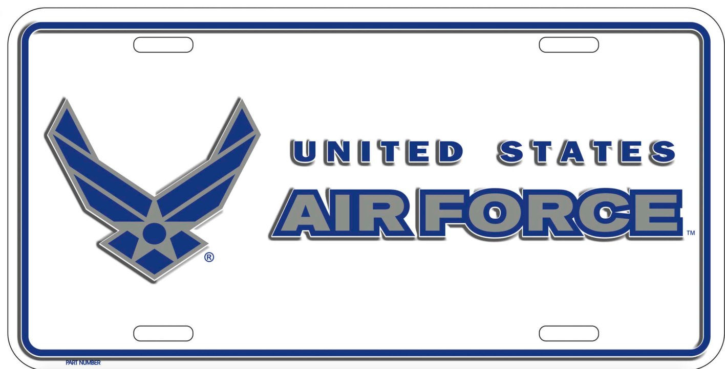 Official USAF United States Air Force White 6x12 Metal License Plate Unknown