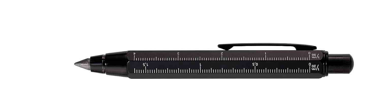 TROIKA ZIMMERMANN 5, 6 BLEISTIFT- PEN56/BK -Fallminen-Stift (5, 6 mm HB-Mine) - Zentimeter-/Zoll-Lineal - 1:20m/1:50 m Skala - Anspitzer - Messing - lackiert - schwarz - das Original von TROIKA PEN56BK
